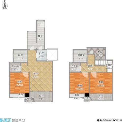 昆山香溢紫郡3室1厅2卫1厨121.00㎡户型图