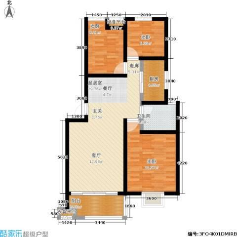 幸福美地3室0厅1卫1厨90.00㎡户型图