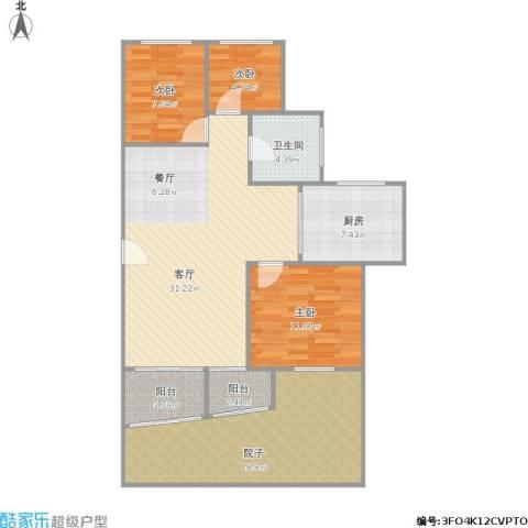 盈家春天3室1厅1卫1厨123.00㎡户型图