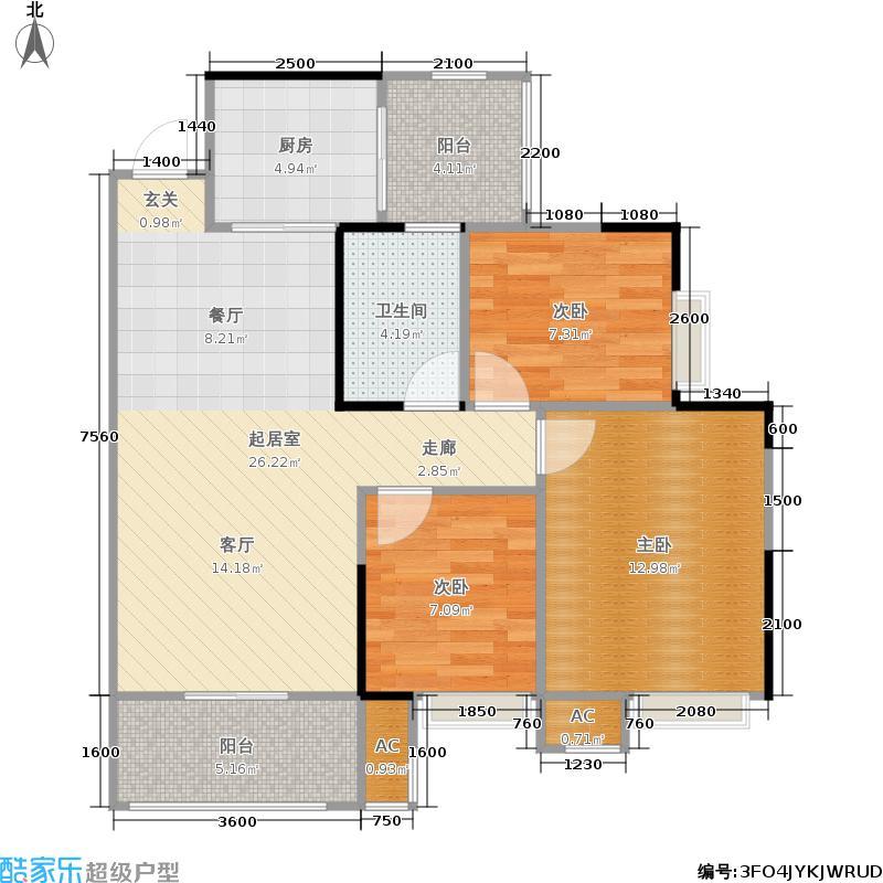 广电兰亭都荟88.00㎡14-16#楼03面积8800m户型