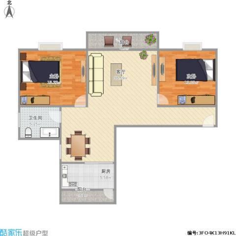 丰泽湖山庄2室1厅1卫1厨111.00㎡户型图