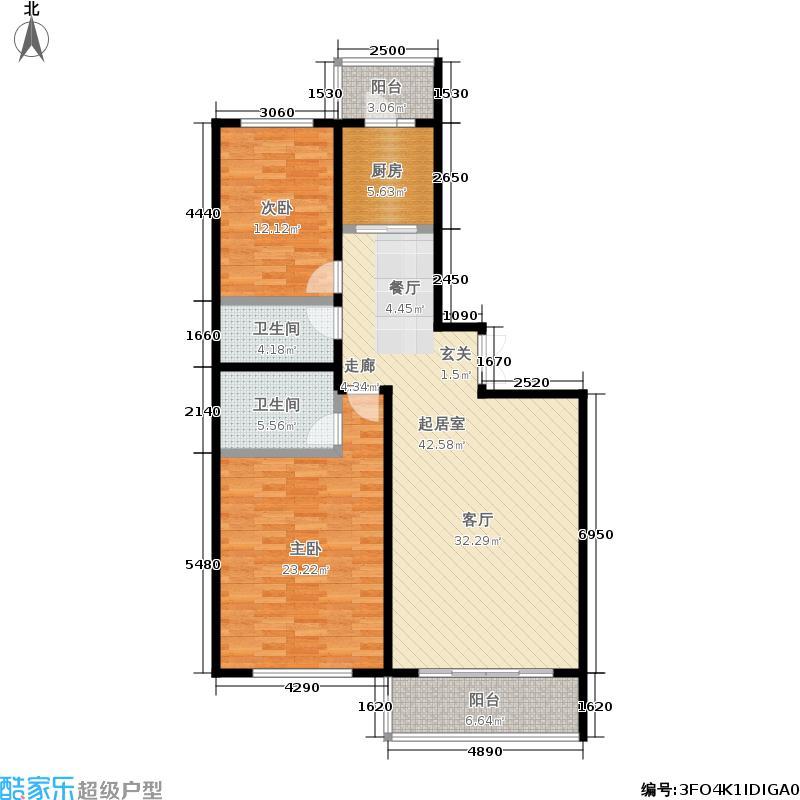 泰鑫国典6#户型2室2厅