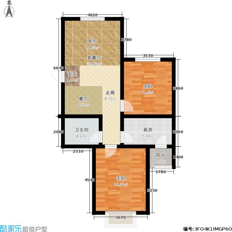 傲湖小区户型2室2厅