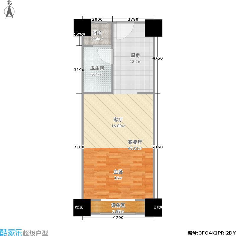 青浦卓越世纪中心46.00㎡E户型1室1厅