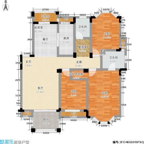 水岸新都花苑3室0厅2卫1厨122.00㎡户型图