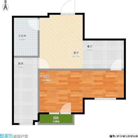 君海・朗郡1室1厅1卫1厨60.00㎡户型图
