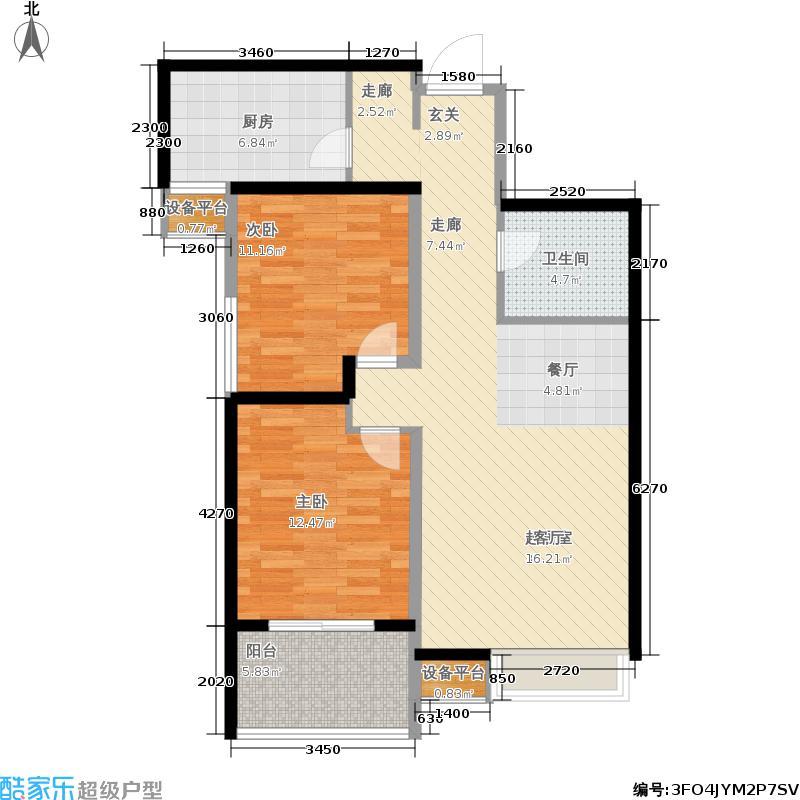 荣德棕榈阳光86.65㎡荣德・棕榈阳光5#/6#楼E3户型
