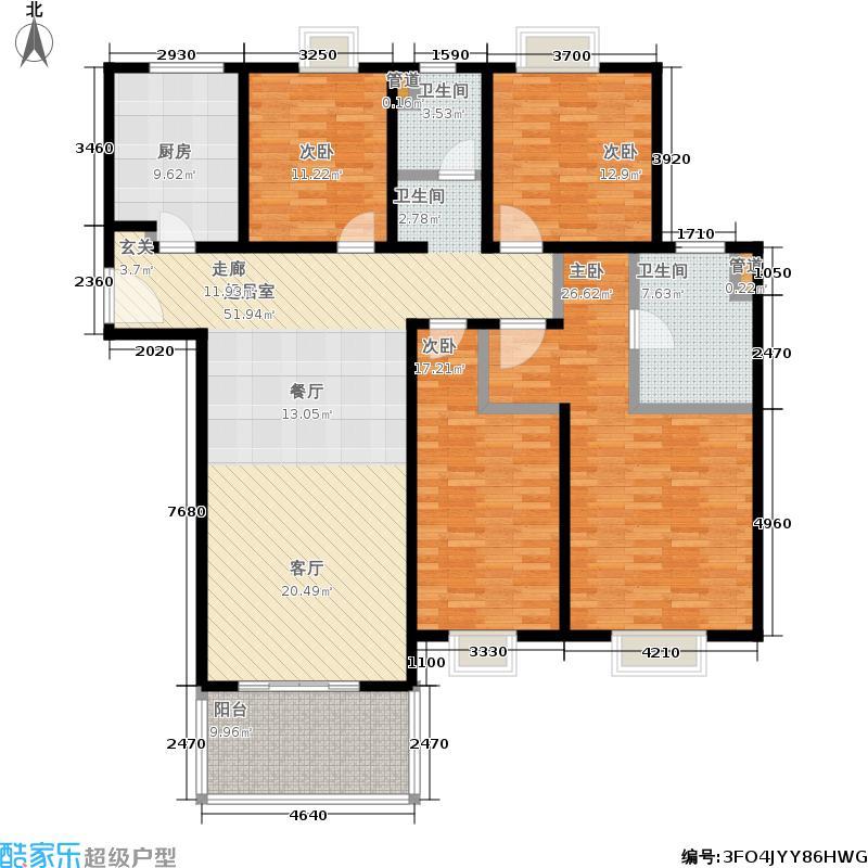 世茂外滩新城174.00㎡二期15号楼标准层B户型