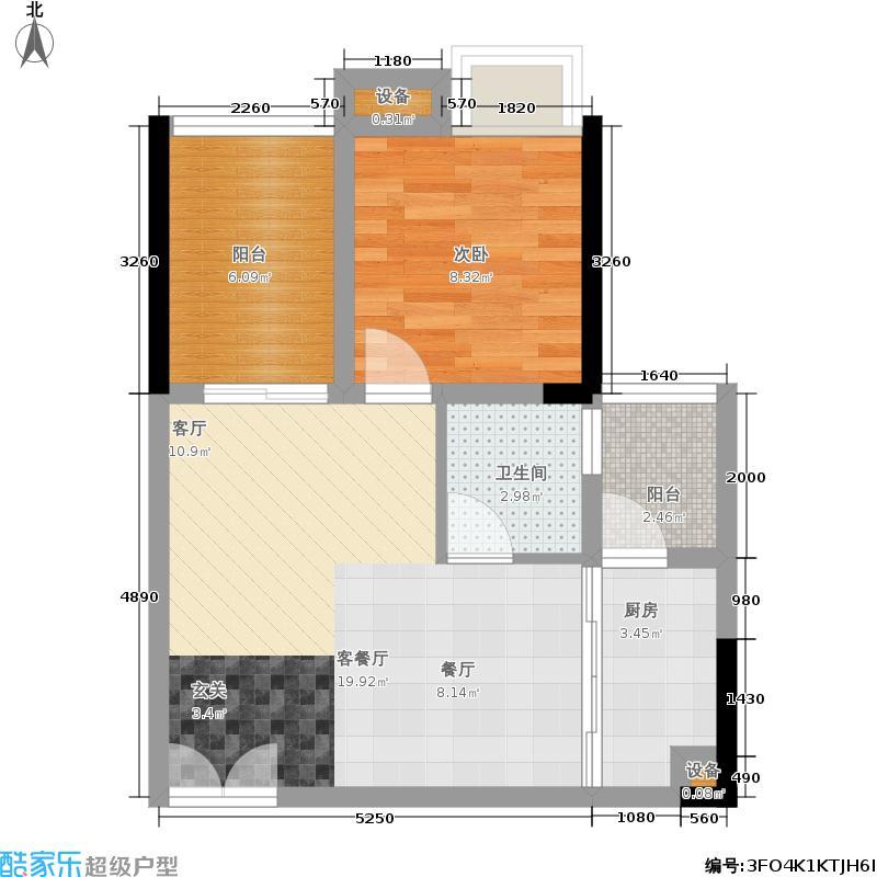 鹿港溪山3栋户单A5户型1室2厅
