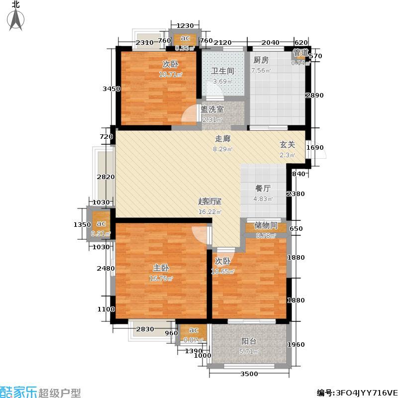 万裕龙庭水岸110.00㎡三期西岸42幢标准层C1户型