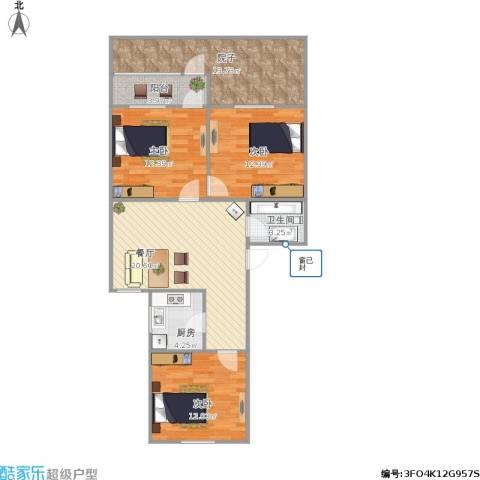 中山北园3室1厅1卫1厨112.00㎡户型图