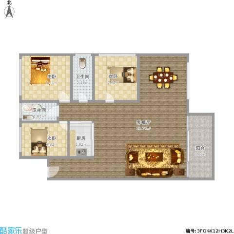 南苑新村3室1厅2卫1厨69.00㎡户型图