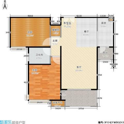 中海御湖熙岸2室1厅1卫1厨121.00㎡户型图