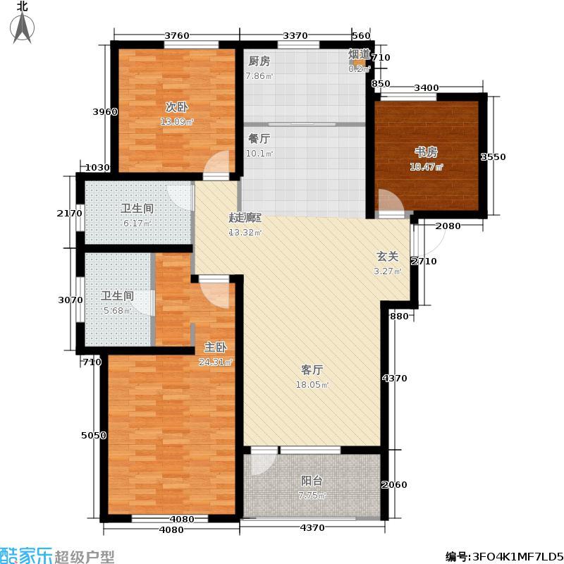 朗诗新北绿郡135.00㎡9#C3户型3室2厅