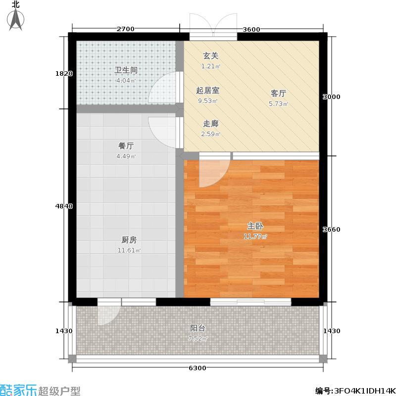 泰鑫国典8#户型1室1厅