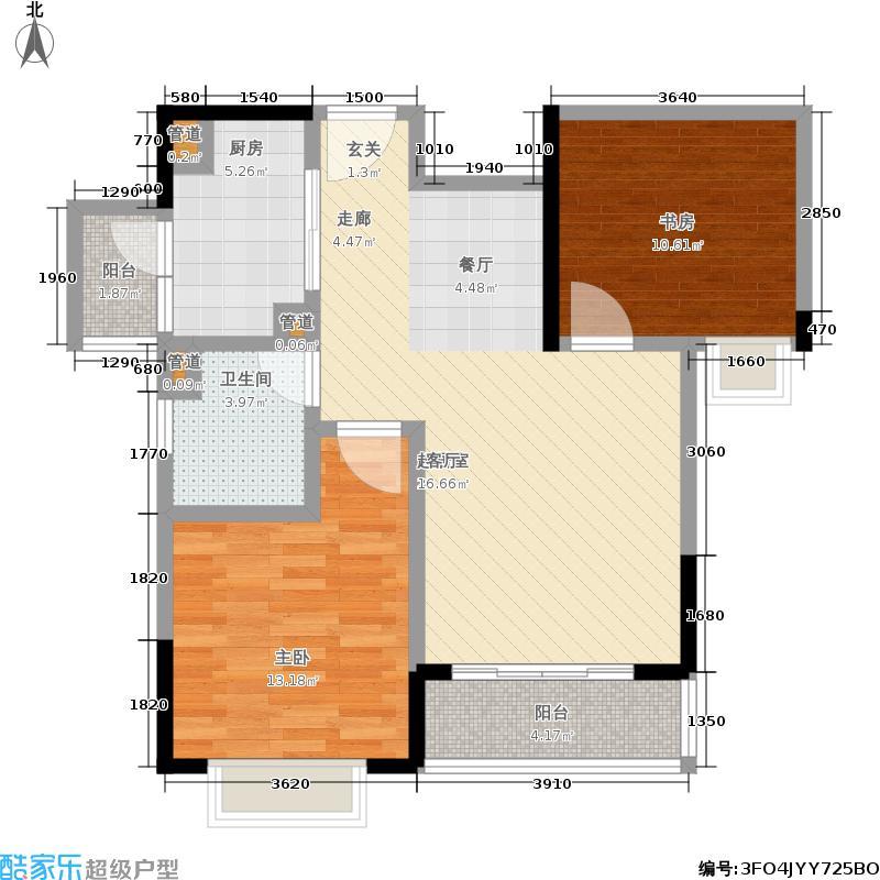 万裕龙庭水岸78.00㎡1期28c、29-31#楼标准层E2户型