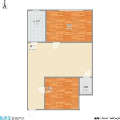 高新枫尚2室1厅1卫1厨101.00㎡户型图