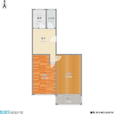 归云堂2室1厅1卫1厨61.00㎡户型图