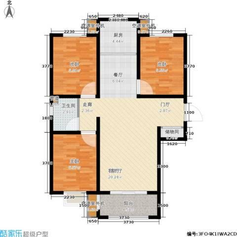 和园3室1厅1卫1厨105.00㎡户型图
