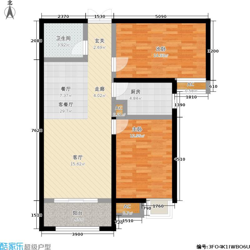 海棠湾99.00㎡6号楼G2户型2室2厅