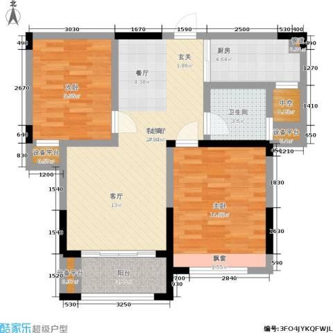 宝业光谷丽都2室1厅1卫1厨85.00㎡户型图