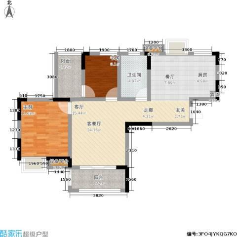 宝业光谷丽都2室1厅1卫0厨90.00㎡户型图