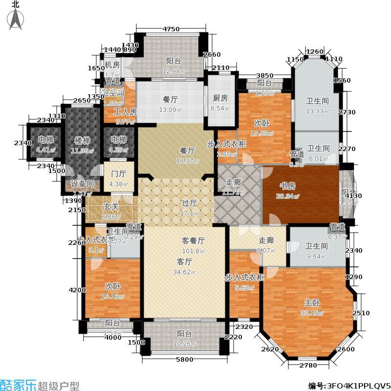 浦东星河湾316.00㎡A3户型4室3厅