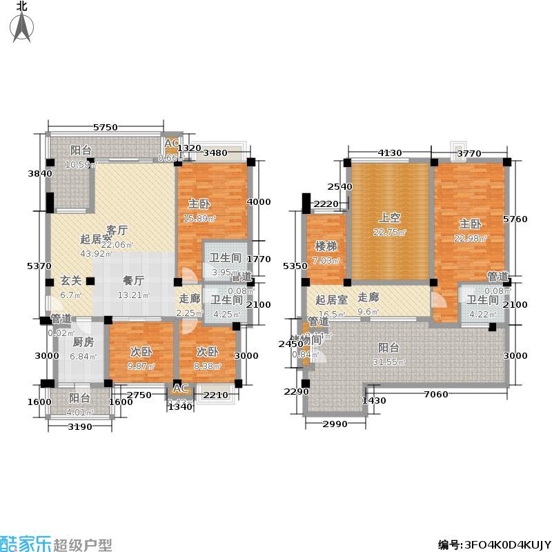 沙河湾176.00㎡2、3号楼复式洋房户型