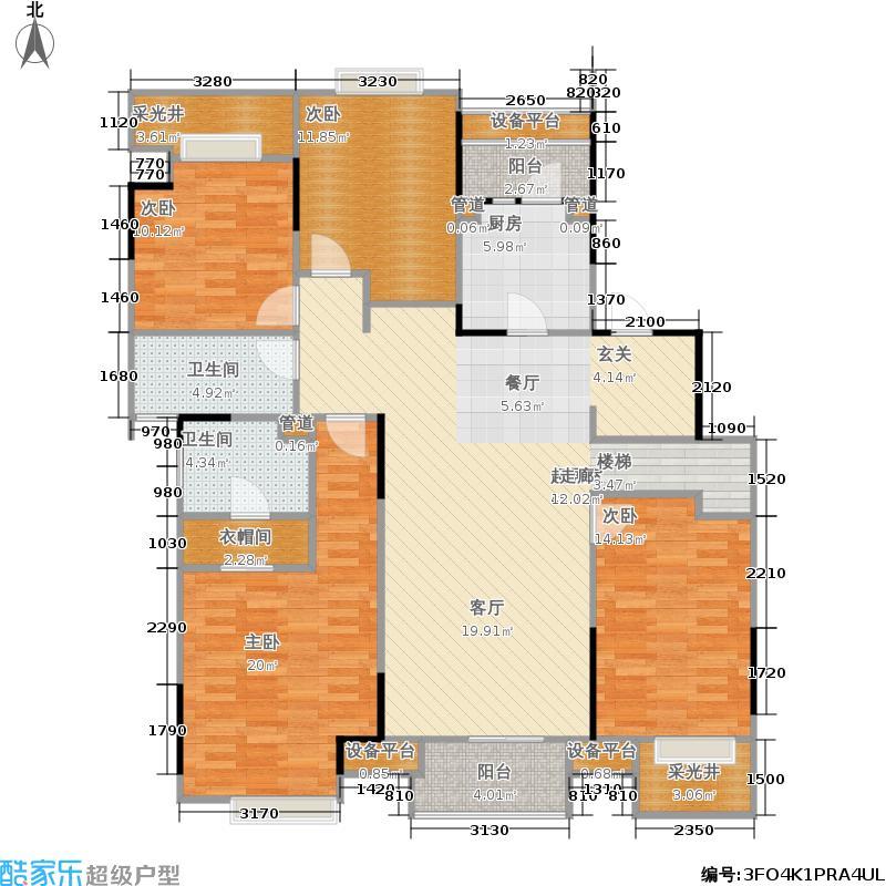 万科时一区147.00㎡1楼中间套户型4室2厅