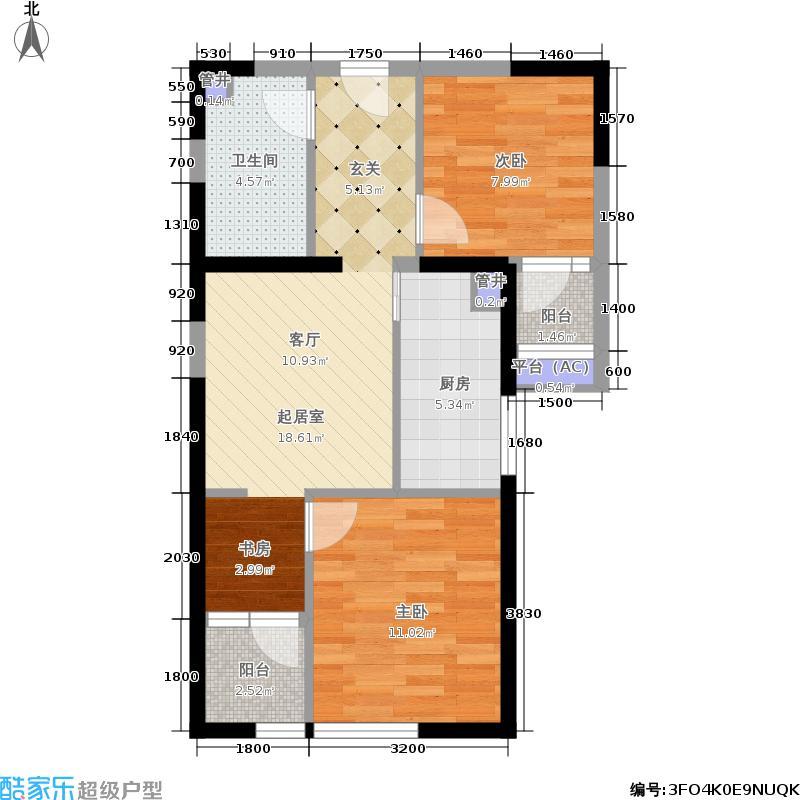 鼎云国际76.00㎡1期2号楼7-25层B-7户型