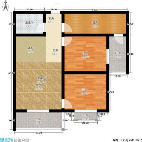 滨河御园2室1厅1卫1厨85.00㎡户型图