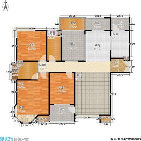 中海御湖熙岸3室1厅2卫1厨140.00㎡户型图