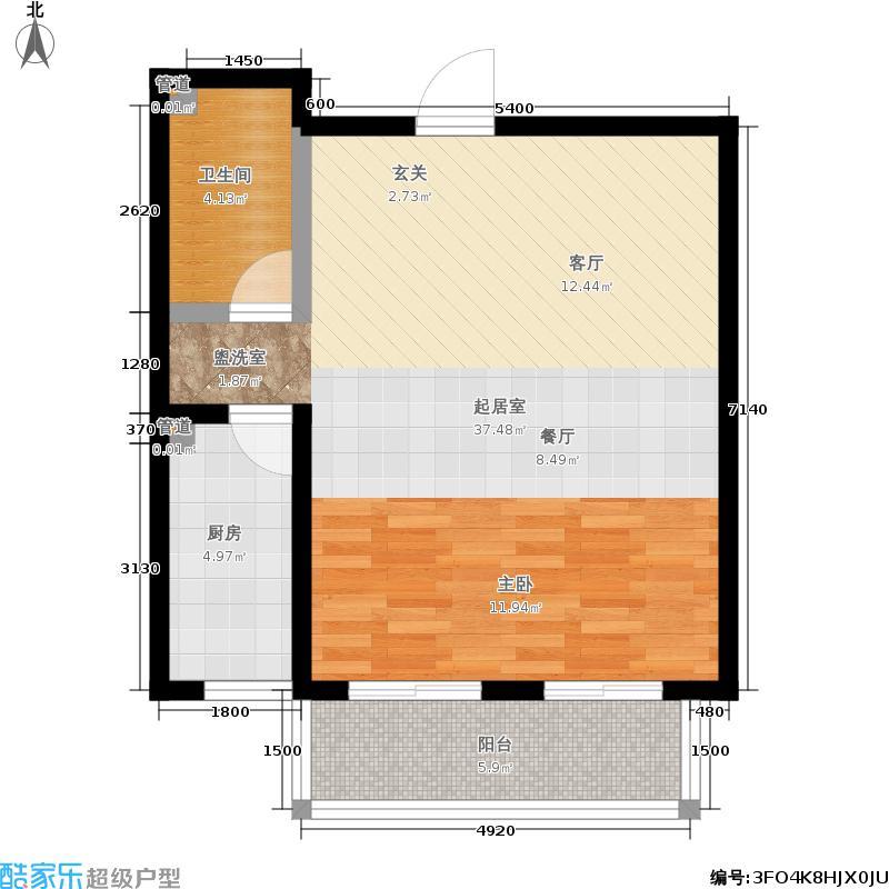 翠园一室一厅一卫户型