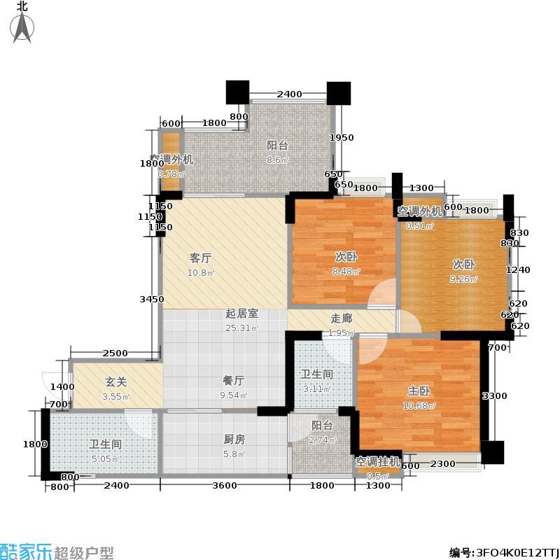 时代豪廷广场100.75㎡一期1栋标准层A1户型