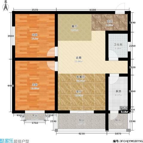 滨河御园2室1厅1卫1厨91.00㎡户型图