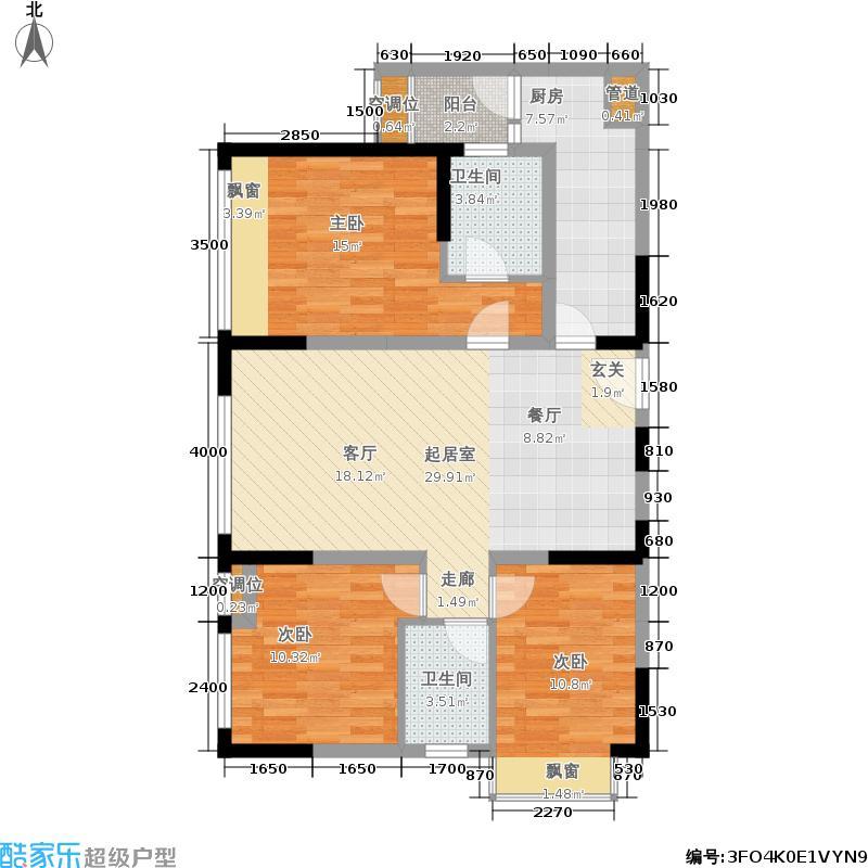 飞大壹号广场111.00㎡一期1栋3单元标准层H3室户型
