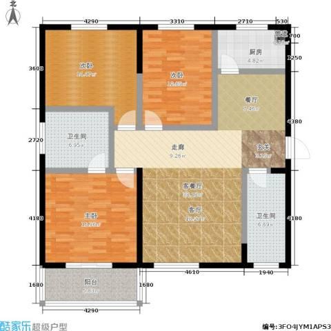 滨河御园3室1厅2卫1厨121.00㎡户型图