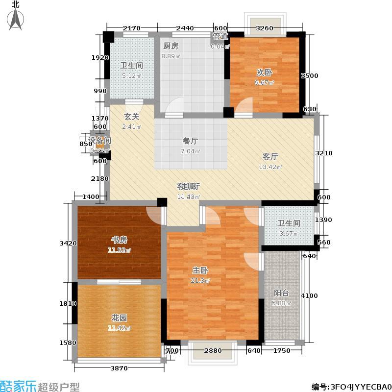福基现代城129.84㎡一期14号楼2-11层C7户型