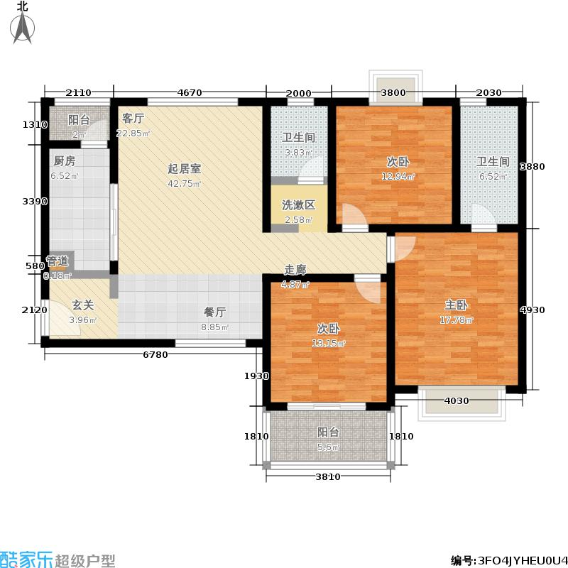 中豪汇景湾128.77㎡11#楼A-3面积12877m户型