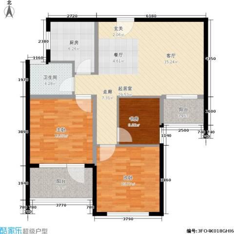 盈嘉香榴湾3室0厅1卫1厨92.00㎡户型图