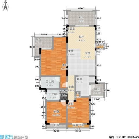 金科天湖小镇3室0厅2卫1厨133.00㎡户型图