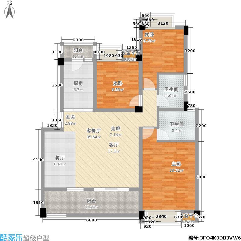 彭州紫光兴城123.00㎡一期11栋6-18层D户型