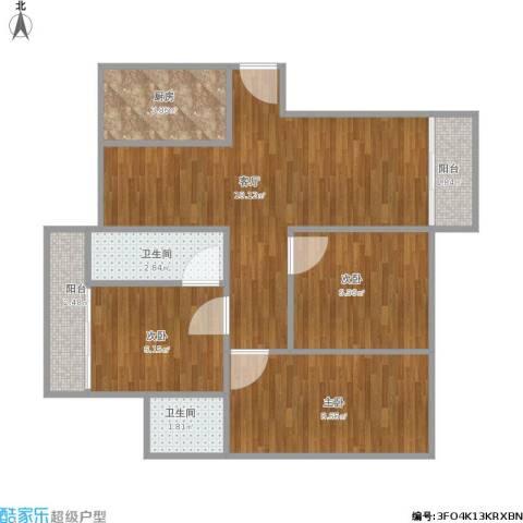 大信新都花园3室1厅2卫1厨73.00㎡户型图
