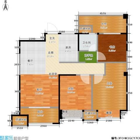 金科中心3室0厅1卫0厨90.00㎡户型图