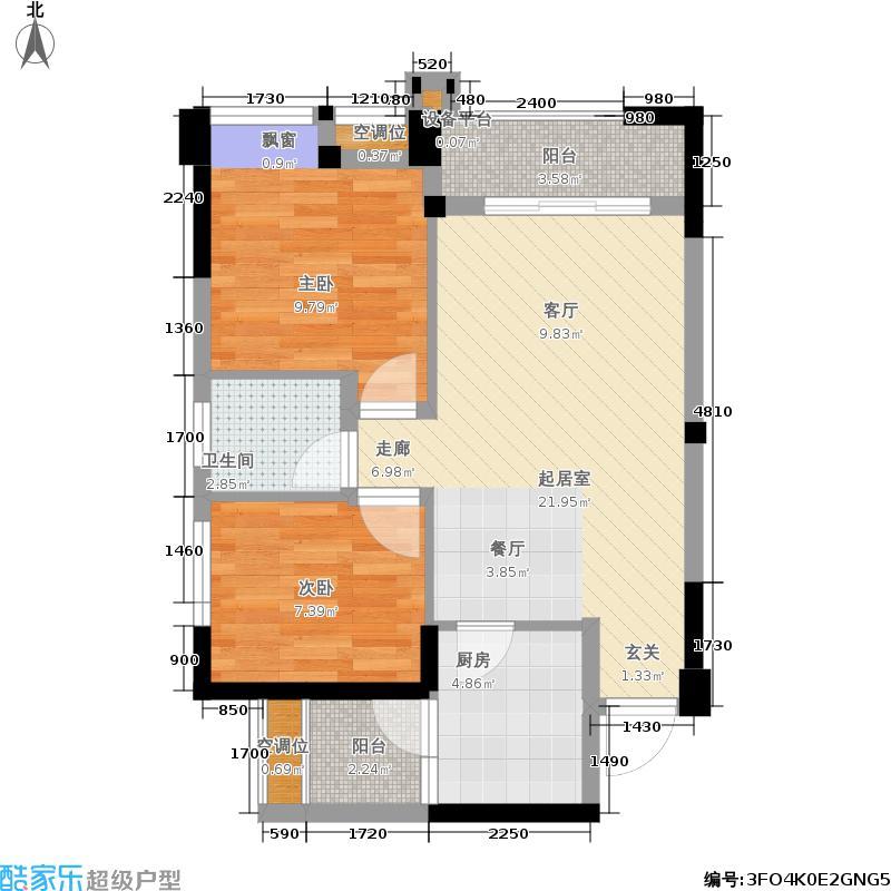 东山国际新城78.47㎡2期17号楼标准层C2-1户型