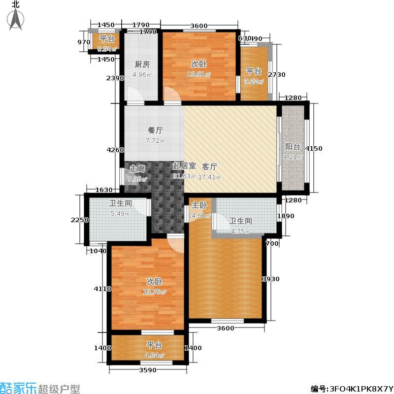 尚城国际125.90㎡一期1号楼F户型3室2厅