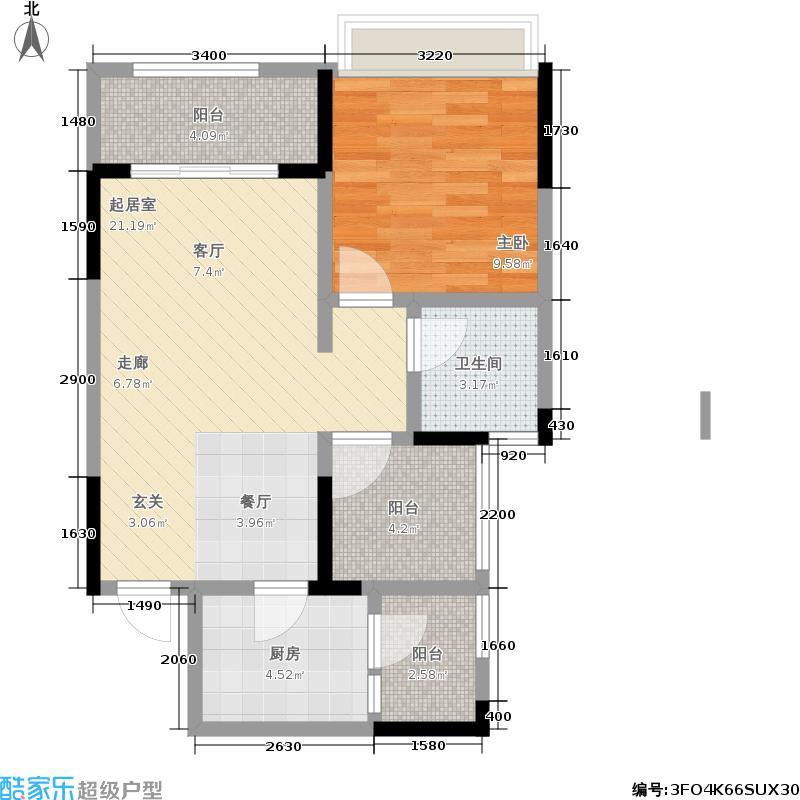 融汇半岛格林美地49.00㎡融汇半岛格林美地户型图B户型,一室一厅一卫+灵动院馆套内面积约49平米,建筑面积约59平米,赠送面积约7平米。(2/4张)户型1室1厅1卫
