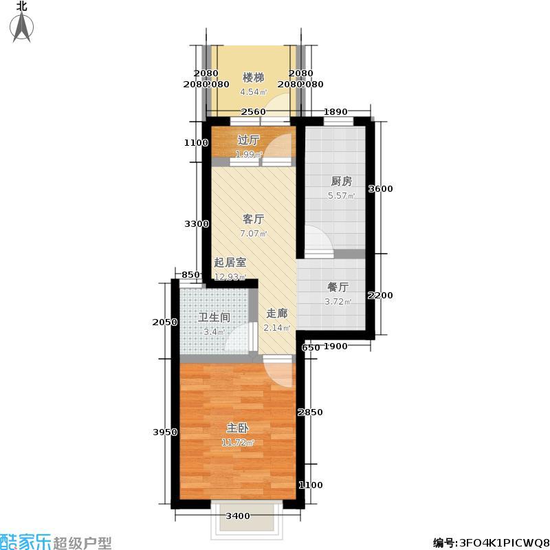 恒大御景湾46.00㎡13、15号楼B5边户型1室1厅