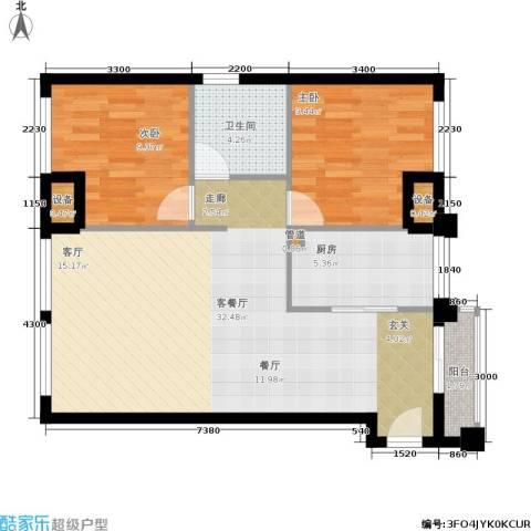 金地华公馆2室1厅1卫1厨87.00㎡户型图