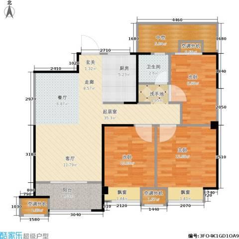 金科中心3室0厅1卫0厨92.00㎡户型图